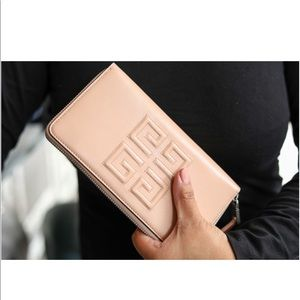 Embossed Logo Leather Zip Around Wallet